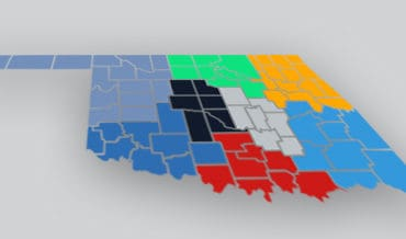 Map of Oklahoma with different counties highlighted
