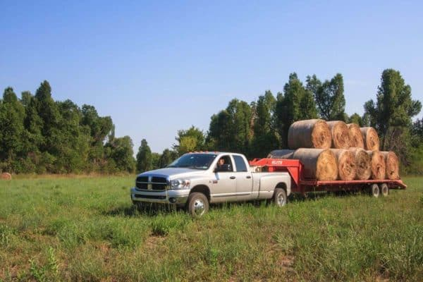 silver Dodge Ram truck hauling bales of hay
