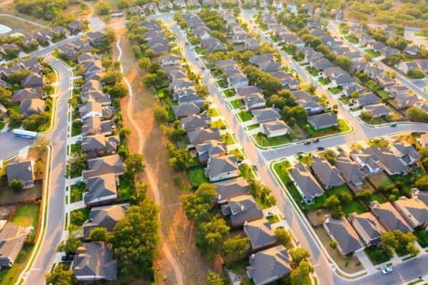 aerial shot of large neighborhood
