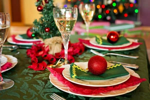 Holiday party decorations on a table