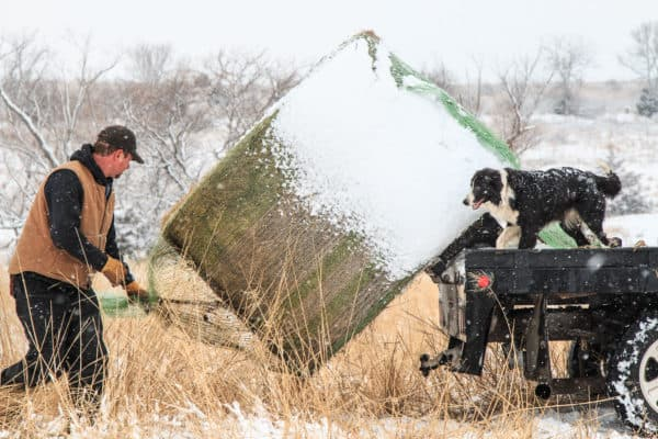 Farmer hauling a hay bale in the snow