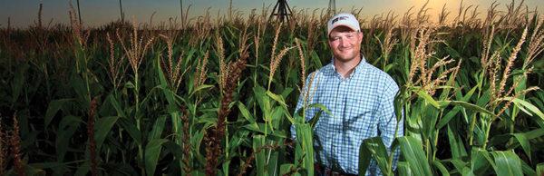 Farmer in his crop field